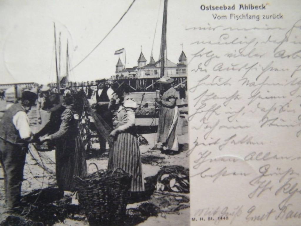 Ahlbeck Postkarte Fischfang