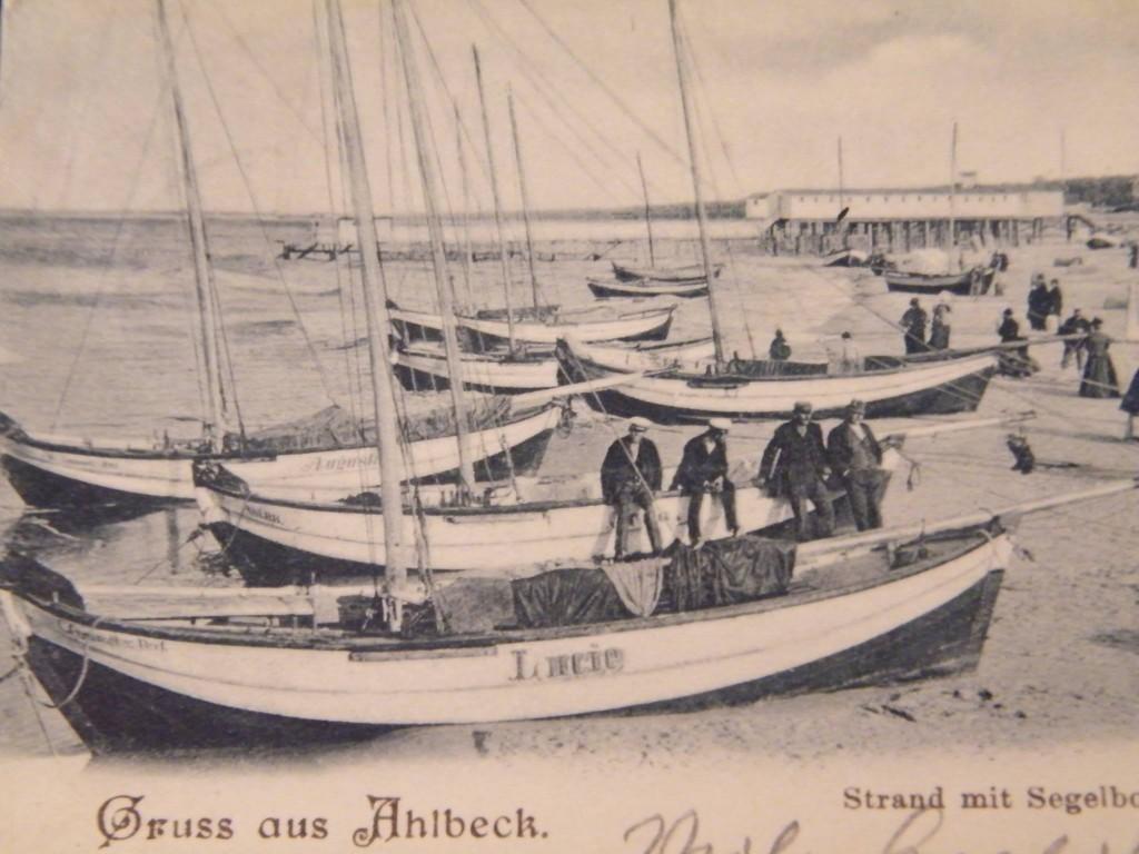 Ahlbeck historische Postkarte Segelboote