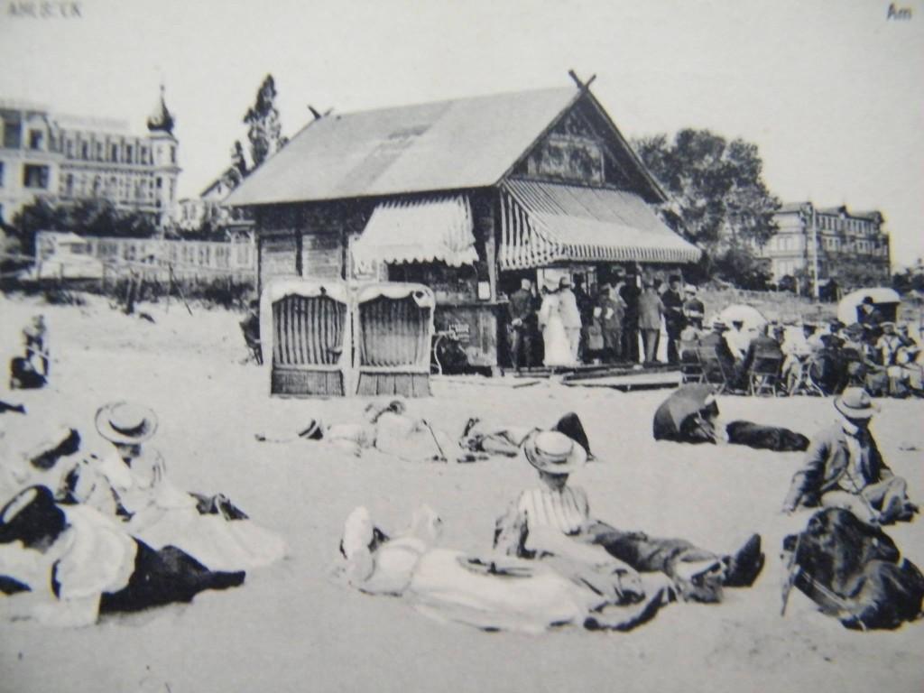 Ahlbeck historische Postkarte Strandleben
