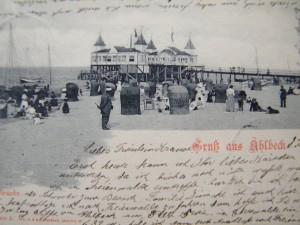 Alte Postkarte Ahlbecker Strandleben
